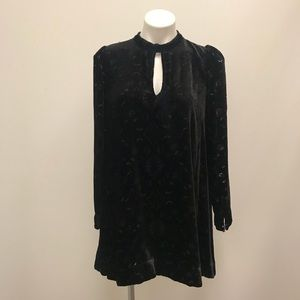 Free People Sz S Black Burnout Velvet Mini Dress